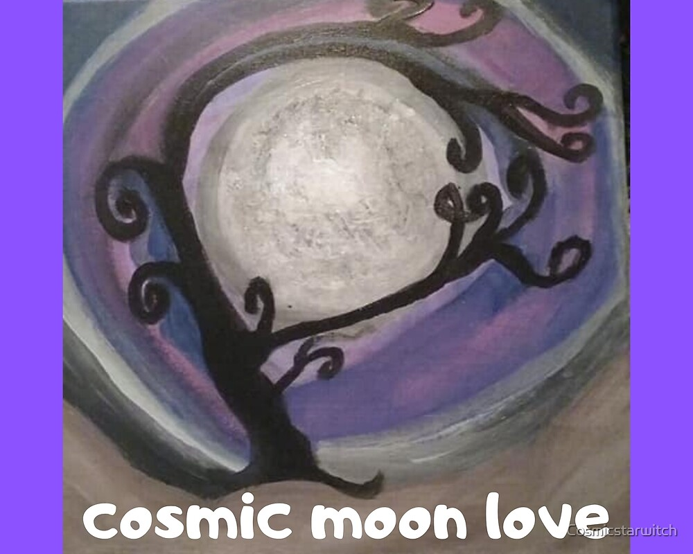 COSMIC GALAXY MOON (ACRYLIC PAINTING)  by Cosmicstarwitch