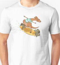 Surfing kangaroo and friends Unisex T-Shirt