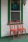 Two Orange Chairs Outside a Green Bordered Window, San Diego, CA by Gerda Grice