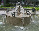 Happy horses fountain, Ljubljana, Slovenia by Margaret  Hyde