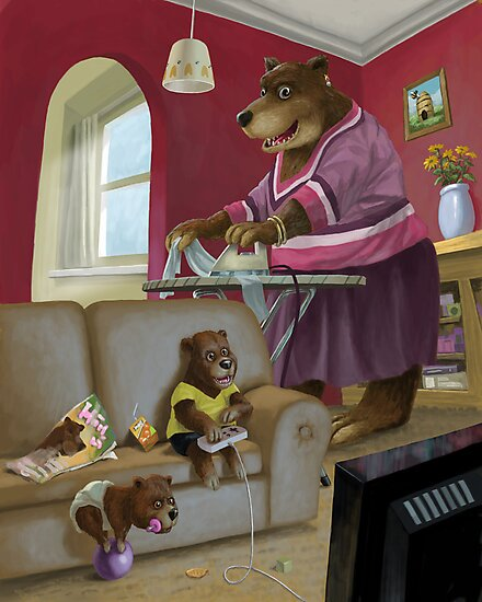 front room bear family with son playing computer game by martyee