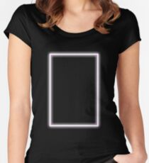Pink Glowing Neon Rectangle Fitted Scoop T-Shirt