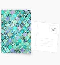 Cool Jade & Icy Mint Decorative Moroccan Tile Pattern Postcards