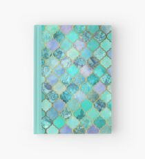Cool Jade & Icy Mint Decorative Moroccan Tile Pattern Hardcover Journal