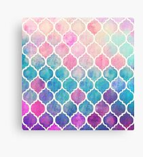 Rainbow Pastel Watercolor Moroccan Pattern Canvas Print