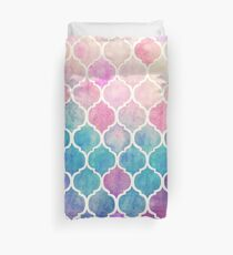 Rainbow Pastel Watercolor Moroccan Pattern Duvet Cover