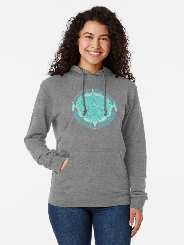 Alternate view of Happy Place Doodle in Mint Green & Aqua Lightweight Hoodie