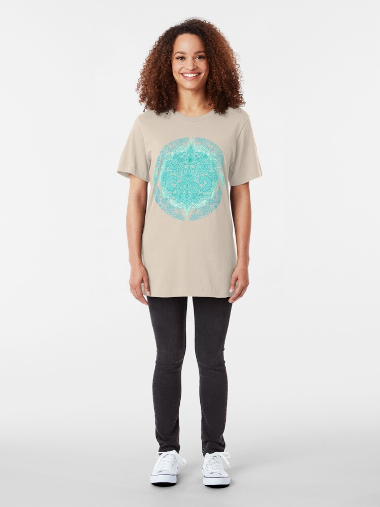 Alternate view of Happy Place Doodle in Mint Green & Aqua Slim Fit T-Shirt