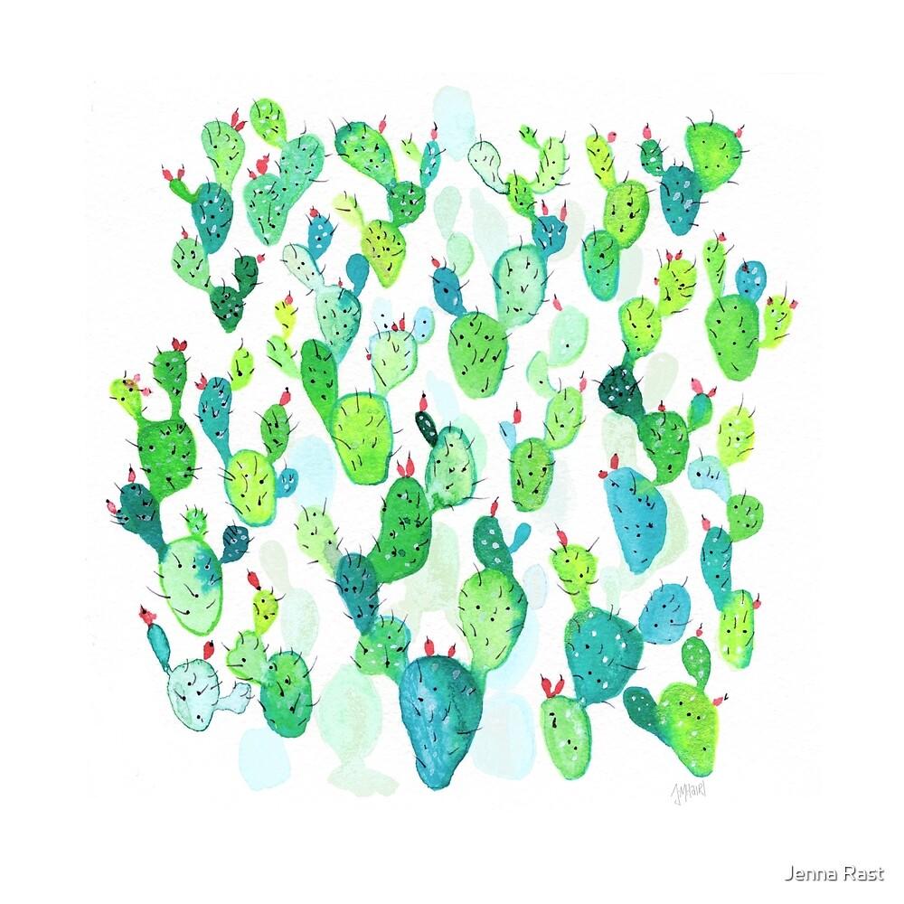 Green Watercolour Cacti Garden by Jenna Mhairi