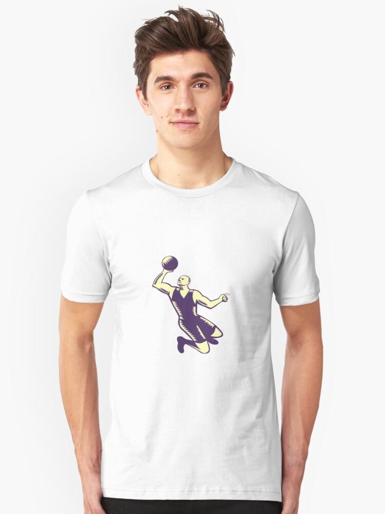 Basketball Player Dunk Ball Woodcut Unisex T-Shirt Front