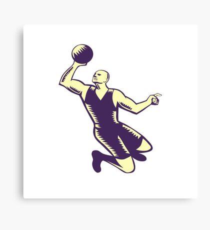 Basketball Player Dunk Ball Woodcut Canvas Print