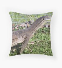 Dragon with forked tongue. Throw Pillow