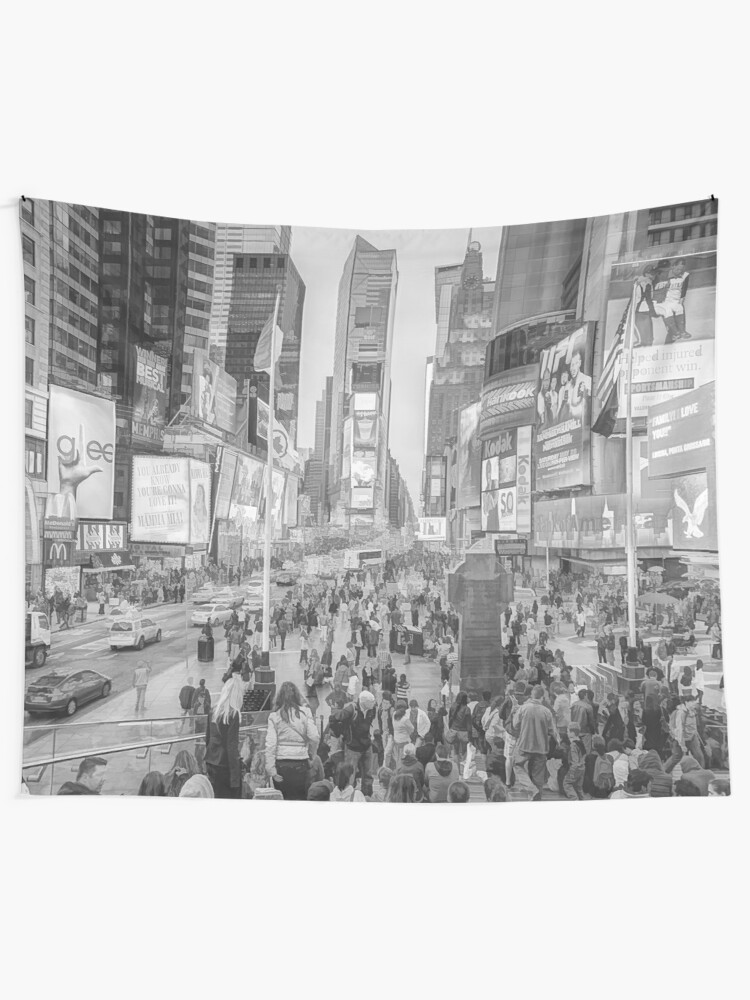 Alternate view of Times Square Tourists (pencil and ink sketch) Tapestry