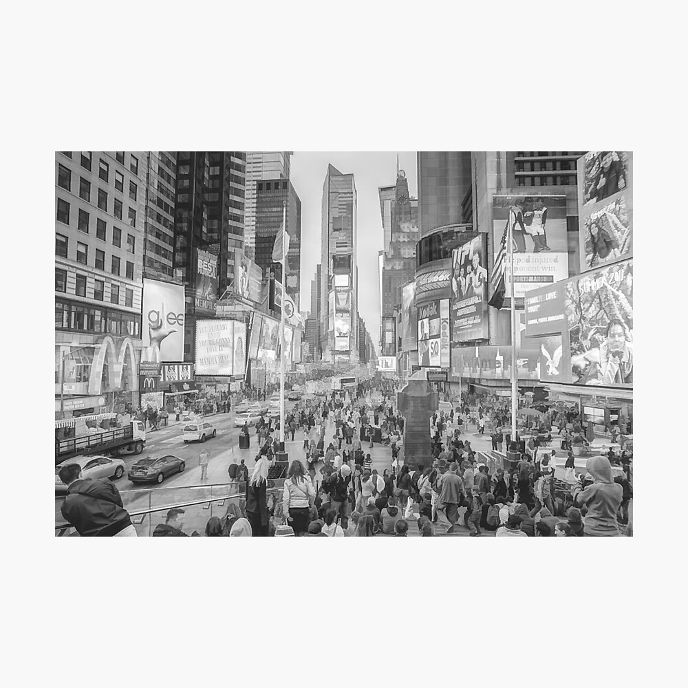 Times Square Tourists (pencil and ink sketch) Photographic Print