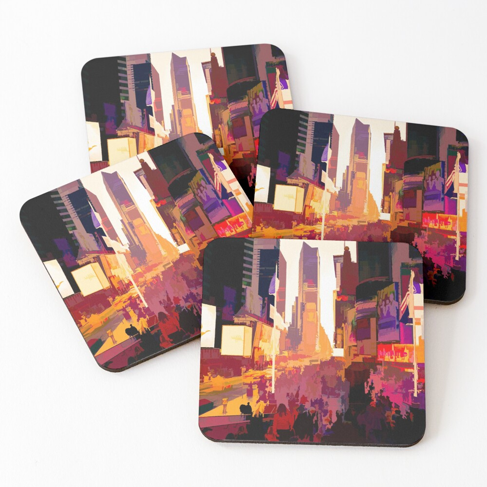 Times Square Tourists (color pen & ink) Coasters (Set of 4)