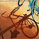 Aqua Angle - bicycle painting by LindaAppleArt