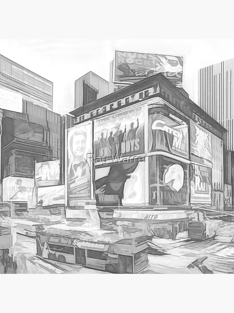 Times Square III (abstract b&w sketch) by RayW