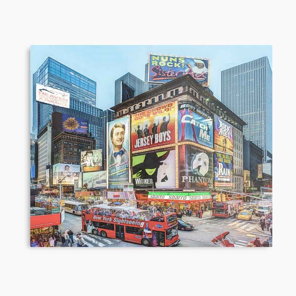 Times Square III (colour pen & ink) Metal Print
