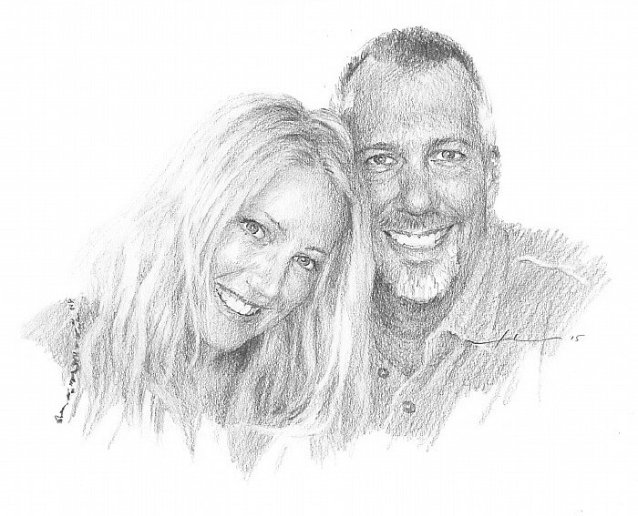 new older couple drawing by Mike Theuer