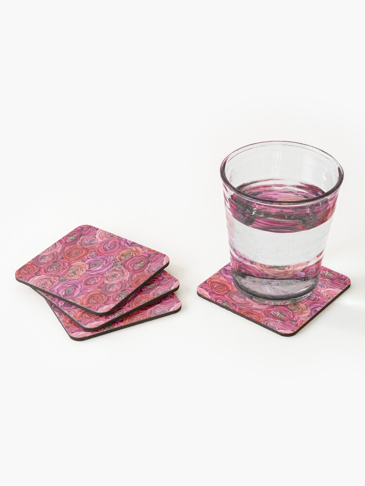 Alternate view of red and pink rose ranunculus flower floral Coasters (Set of 4)