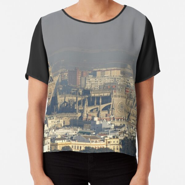 La Sevilla Giralda and Catedral from a Distant Cloud Chiffon Top
