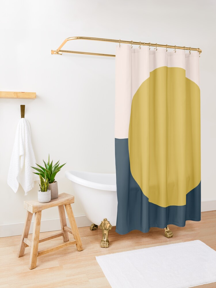 Alternate view of Sun Dot Half Half. Minimalist Geometric Design in Mustard Yellow, Navy Blue, and Blush Pink Shower Curtain