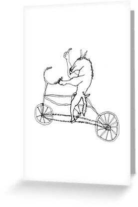 horse with hands riding a bike by dthaase