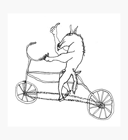 horse with hands riding a bike Photographic Print