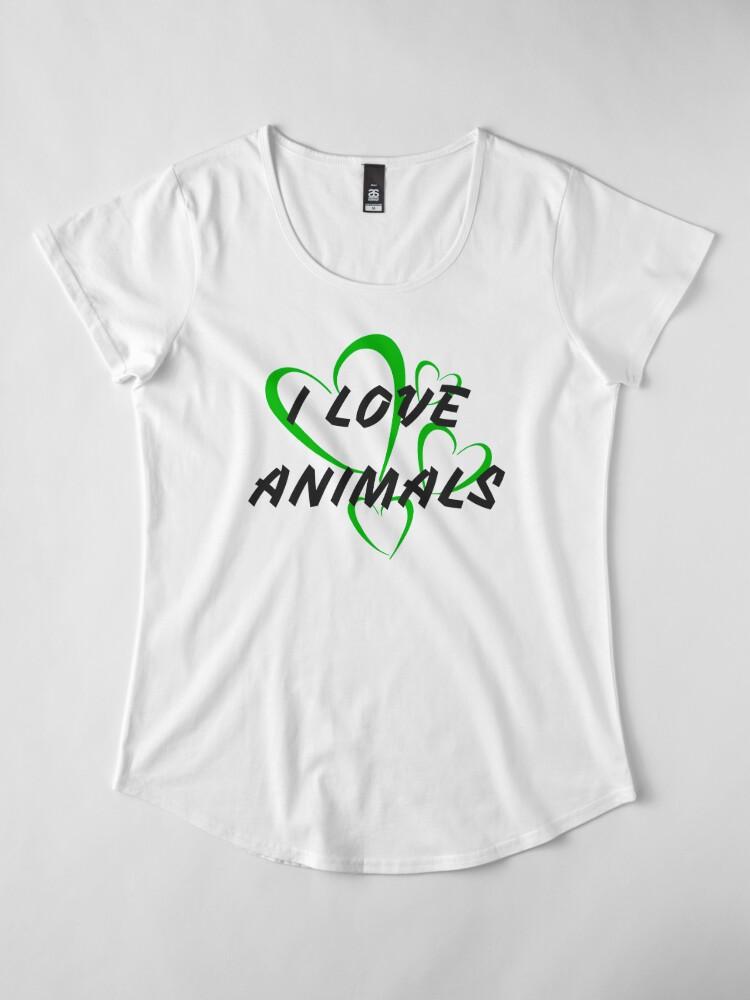 Vista alternativa de Camiseta premium de cuello ancho Amo a los animales