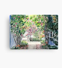 Roses in  a Swedish Courtyard Canvas Print