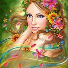 Fantasie Schöne feenhafte Frau mit Sommerblumen. Natur. Mode-Porträt von Alena Lazareva