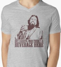 The Big Lebowski Careful Man There's A Beverage Here T-Shirt Men's V-Neck T-Shirt
