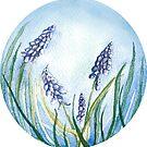 Watercolor Flowers in a circle - grape hiacinth by Magdalena Żołnierowicz
