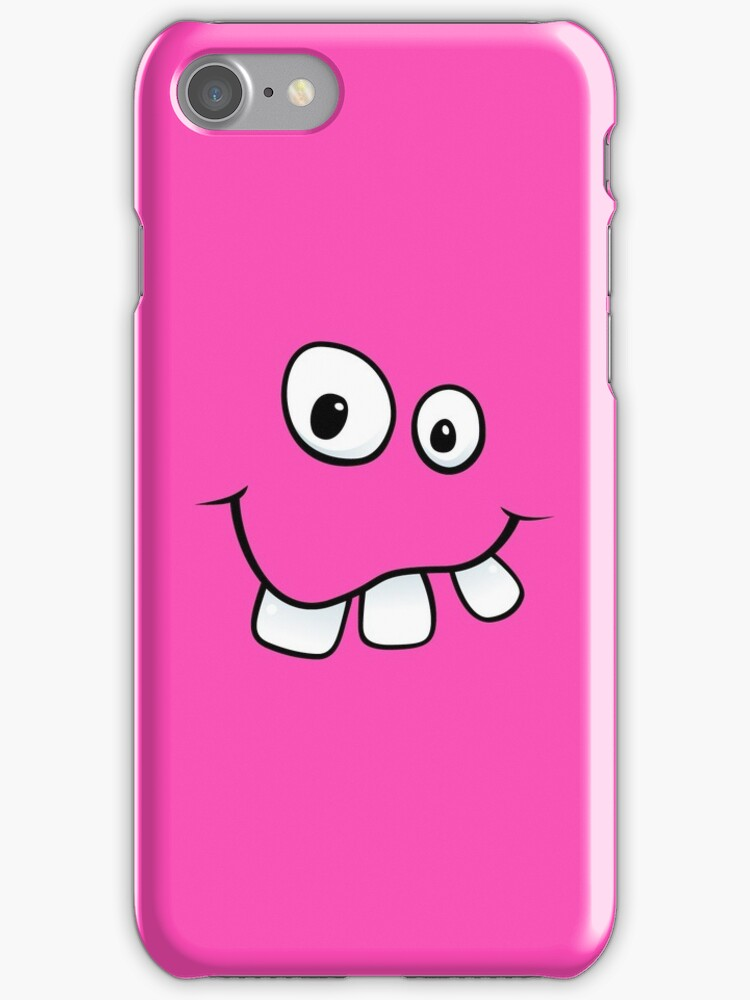Silly, goofy face with big teeth hot pink iPhone case by Mhea