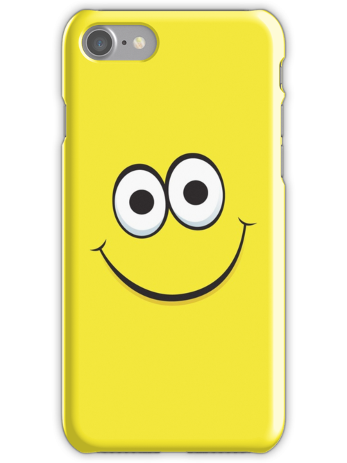 Happy yellow face iPhone case by Mhea