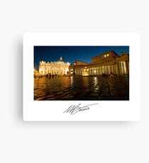 St. Peter's Square at Night - Vatican State Italy Canvas Print