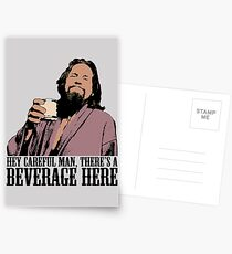 The Big Lebowski Careful Man There's A Beverage Here Color T-Shirt Postcards