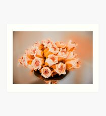 Roses in a silver vase  Art Print