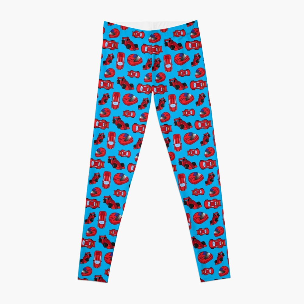 Red Toy Motor Racing Sports Cars and Crash Helmets Pattern Leggings