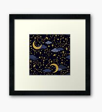 Celestial Stars and Moons in Gold and Dark Blue Framed Print