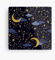 Celestial Stars and Moons in Gold and Dark Blue Metal Print