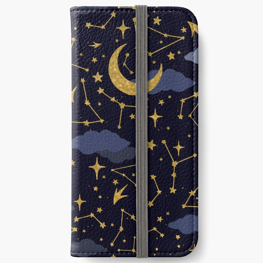 Celestial Stars and Moons in Gold and Dark Blue iPhone Wallet