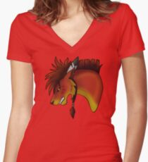 Red XIII Fitted V-Neck T-Shirt