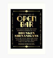 Great gatsby / art deco style open bar sign Art Print