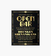 Great gatsby / art deco style open bar sign Art Board