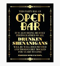 Great gatsby / art deco style open bar sign Photographic Print