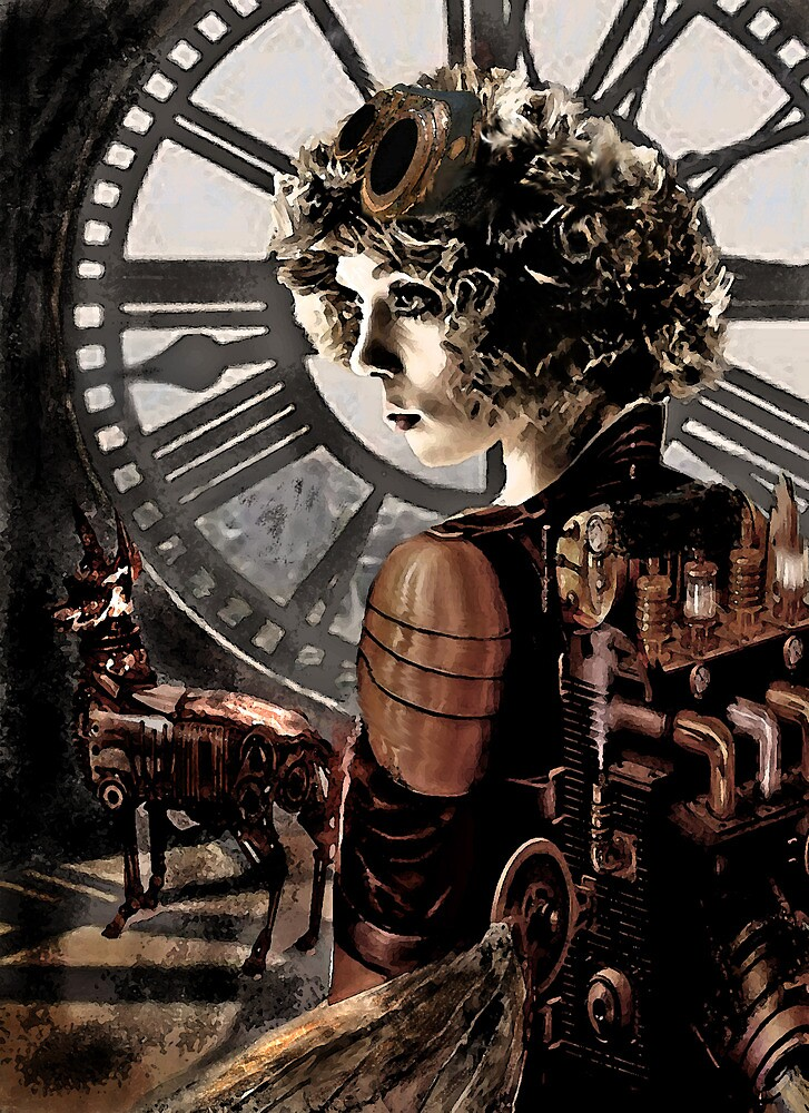steampunk girl with clock by jashumbert