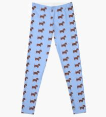 Brown Dachshunds with Blue Bows Pattern Art Leggings