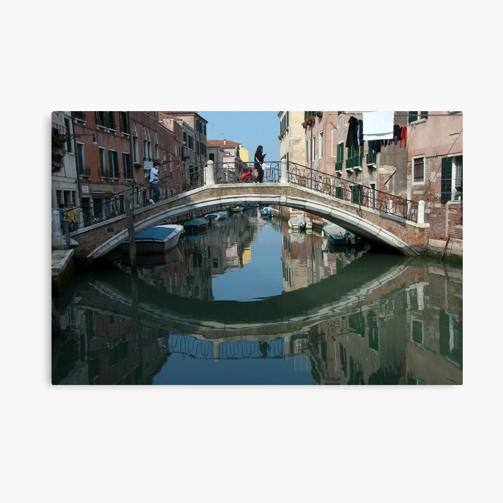 Crossing the Bridge, Venice, Italy Canvas Print
