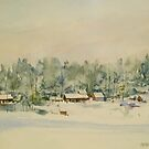 Little village under snow by Peter Lusby Taylor